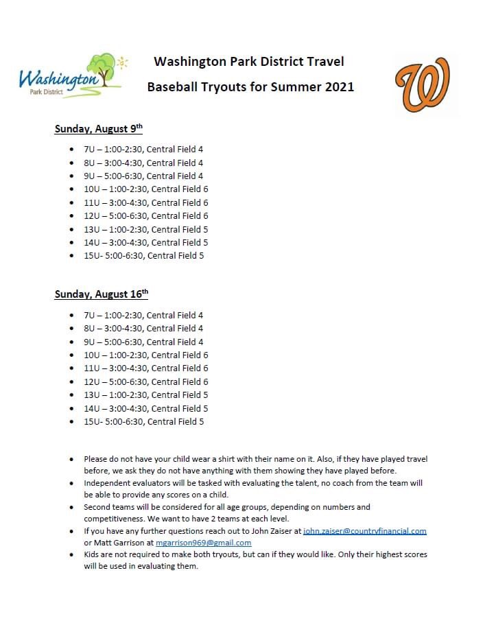 Travel Baseball tryouts for 2021