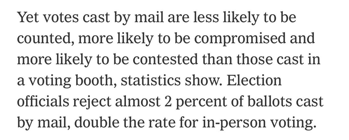 The NY Times in 2012 reporting on the big problems with mail-in voting before Trump said the same thing.