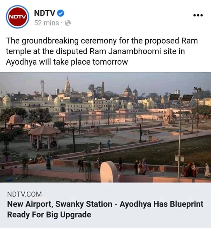 Hi @ndtv. It is 'Bhoomipujan' and the site is NOT disputed. It legally, morally, historically and sociology-politically belongs to Ram Lalla. The only thing disputed here is your 'journalism'!