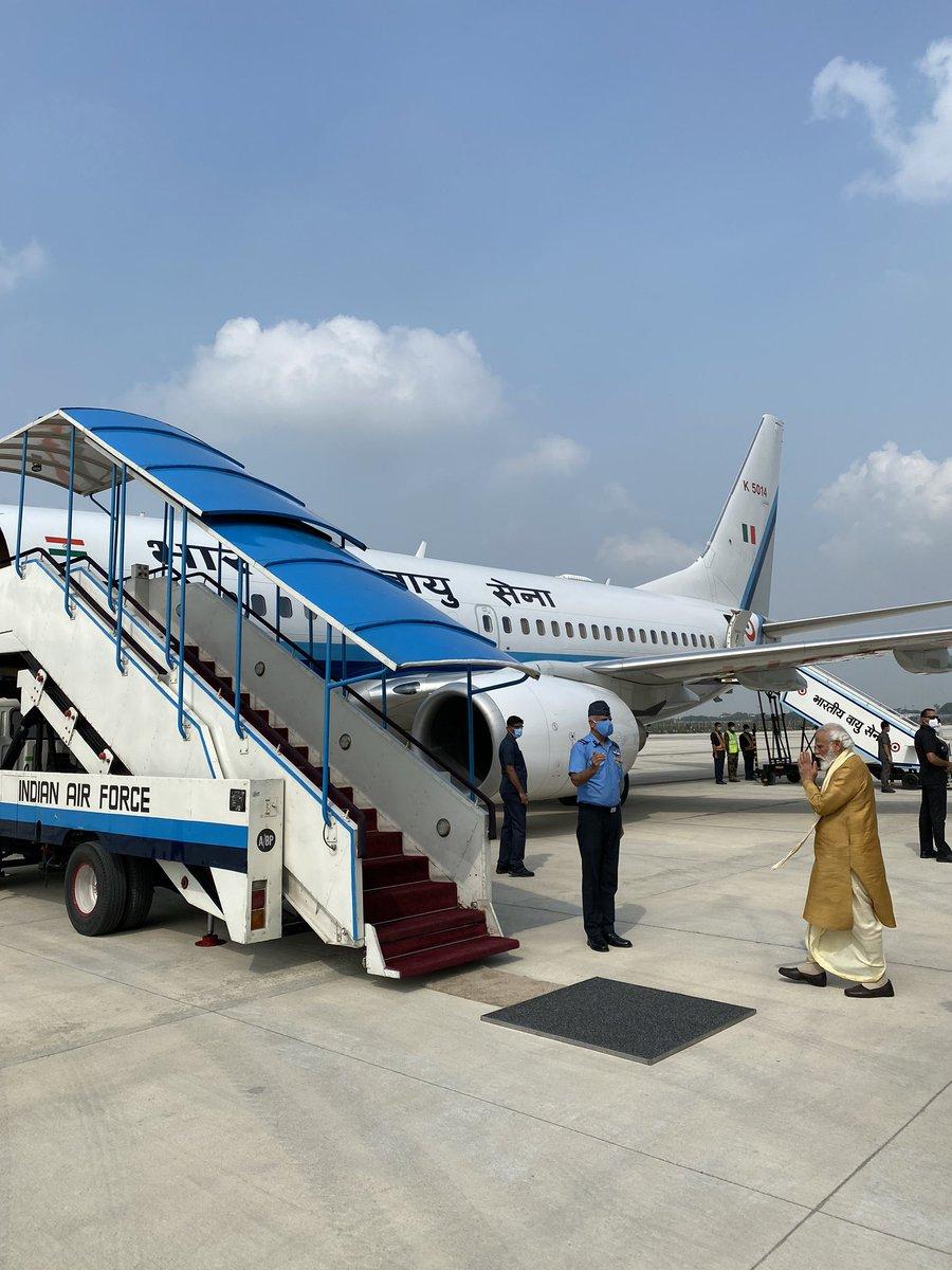 PM @narendramodi leaves for Ayodhya.