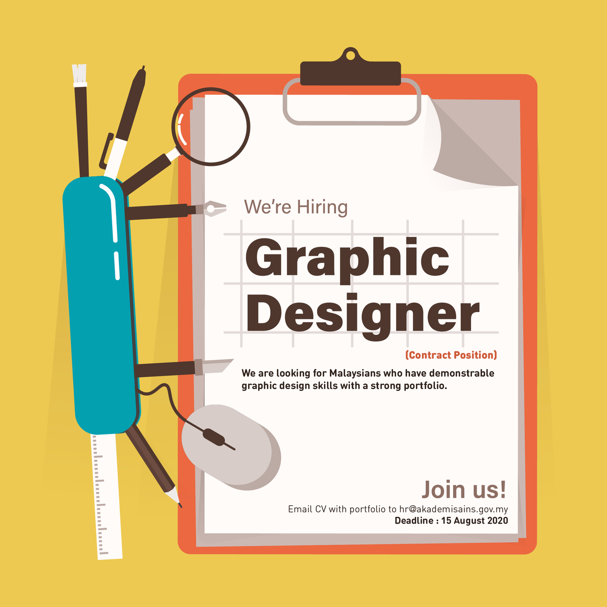 #NowHiring graphic designer. Showcase your designing skills with us. 💻🎨  Apply here:    For more info, please contact us at 03-6203 0633.  @MauKerjaMY @Oh_KerjaKosong @kerja_kosongMY @kerjakosong123 @twt_kerja #GraphicDesigner