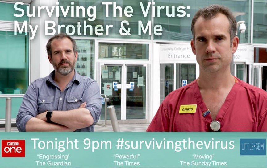 Tonight at 9pm we'll be watching @BBCOne #survivingthevirus with @xandvt at @CNWLNHS and @DoctorChrisVT from @HTropDis here at UCLH helping during the peak of the #pandemic 🙏 our patients & staff for sharing important stories about #Covid_19 at such a difficult time💙