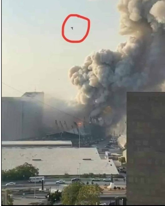 Some people are posting images and clips claiming some sort of missile hit the site of yesterday's Beirut explosion. Bird.