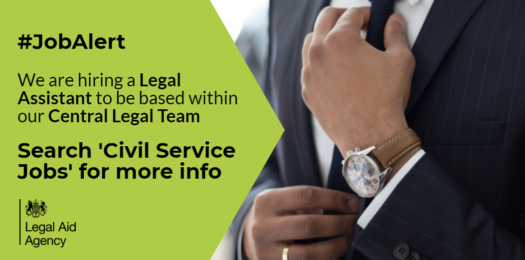 #JobAlert - we are hiring! A permanent Legal Assistant position based within our Central Legal Team. This is a permanent position with flexible working arrangements.  Come and join the @LegalAidAgency.    #legalaid #law #legal