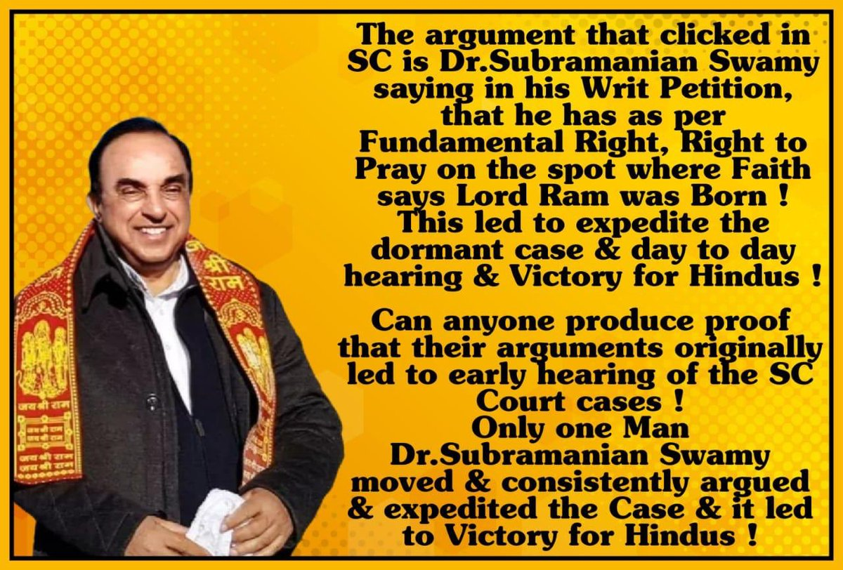 A tall leader par excellence is @ @Swamy39 ji. Today's historic celebrations shld be credited to him. Though he joined towards end because of #BhratRatnaForAshokSinghal ji the tectonic shift in court hearings culminated in today's history celebrations @jagdishshetty @narendramodi