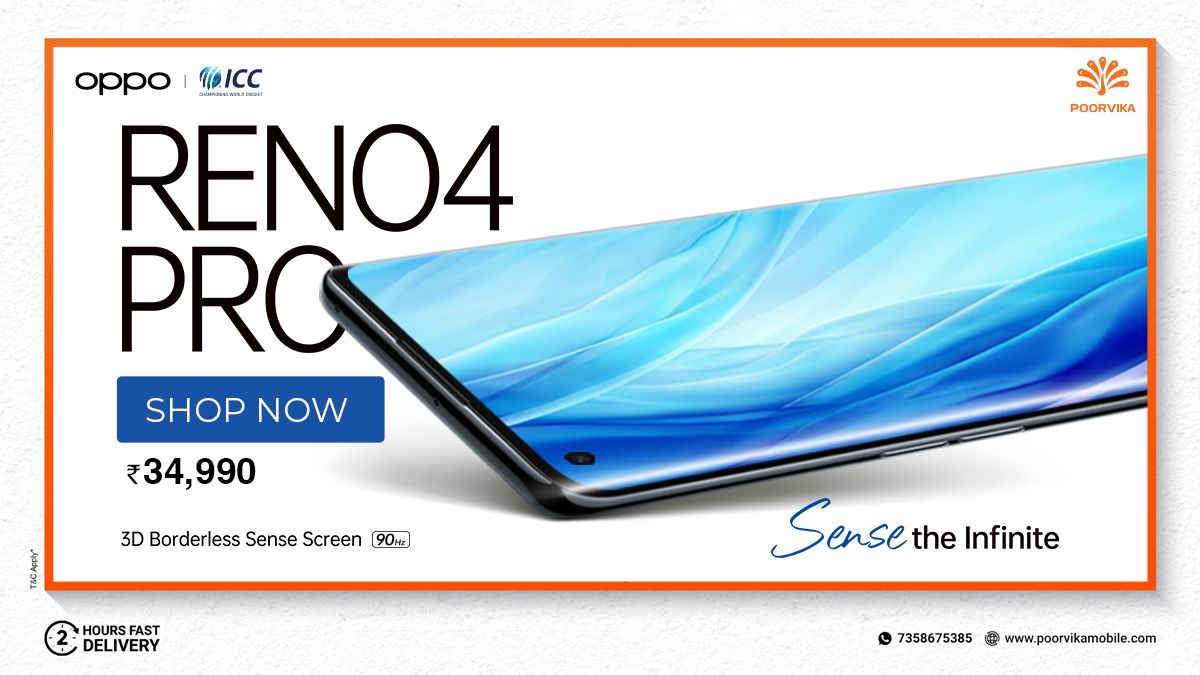 Shop the #3DBorderless sense Screen #Smartphone #Oppo #Reno4Pro  @ Rs.34,990. Order Now & Experience 2 Hours* #ExpressDelivery at #PoorvikaMobiles   Get now:   Top Nods : 1. 3D Borderless Sense Screen 2. Qualcomm Snapdragon Processor 3. 4000 mAh Battery