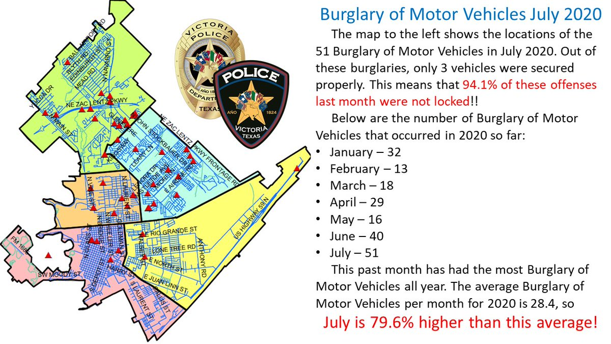 This week, Crime Analyst Erin Gabrysch made a map showing the burglaries of motor vehicles for July, 2020.  An overwhelming majority of the vehicles broken into were left unlocked. - VPD Media Relations