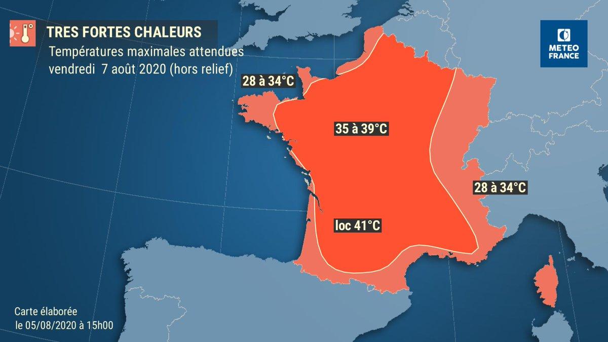 🌡️#Forteschaleurs   ▶️ Voici les #températures maximales attendues pour les journées de vendredi et samedi.
