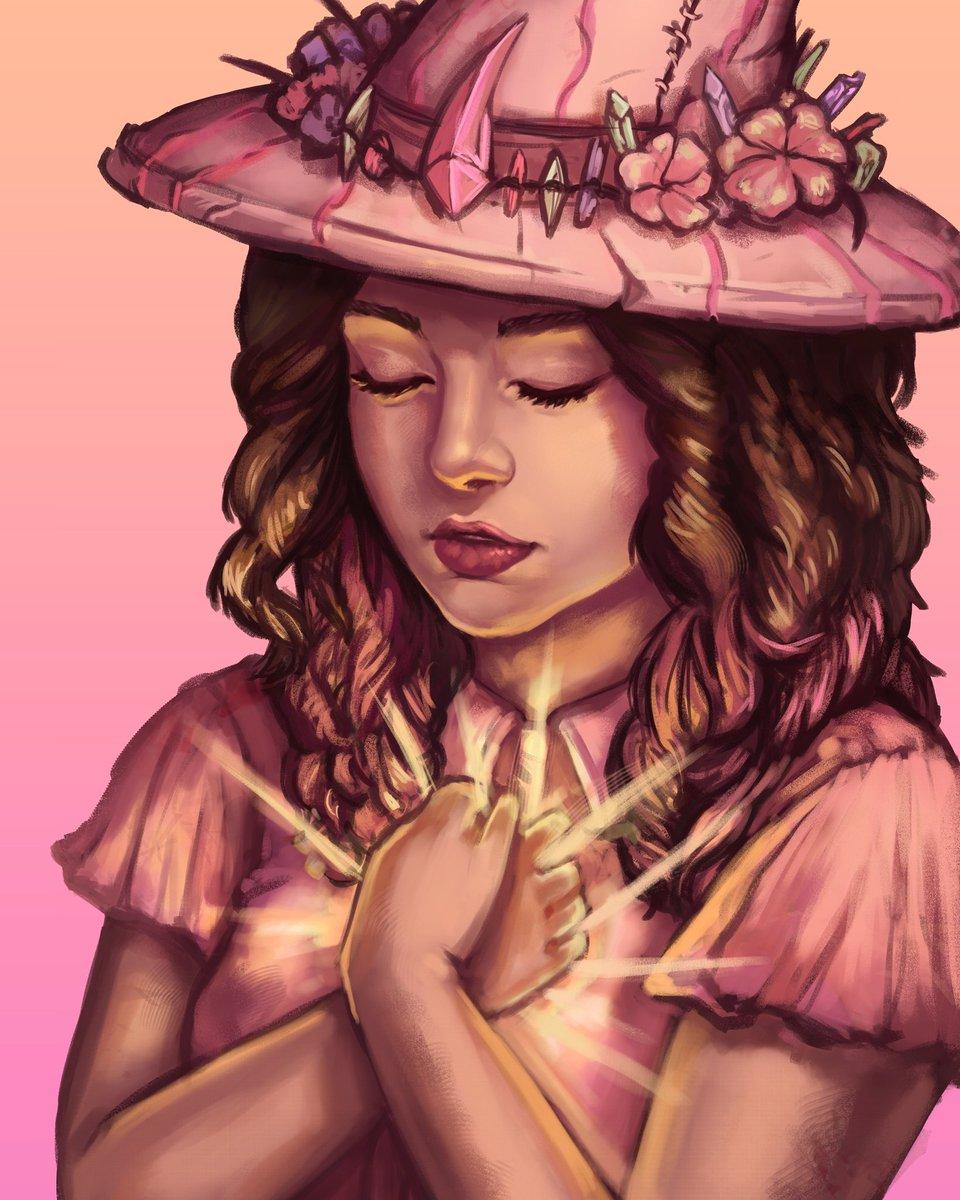 Finalizado el dibujo para la maravillosa @Yrtapp ✨ Retrato en plan brujil 💖   #art #portrait #digitalart #digitalartist #artistontwitter #digitalportrait #witch #witchyvibes 🌟