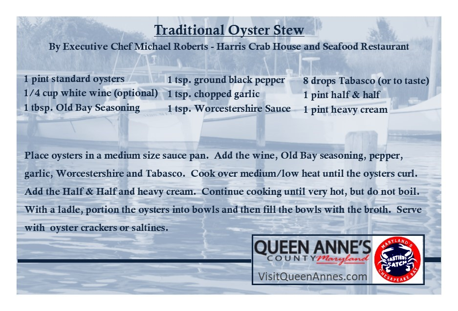 Happy #NationalOysterDay!   Enjoy this Traditional Oyster Stew recipe from #QueenAnnesCounty very own Harris Crab House!  #visitqueenannes #VisitQAC #oysters