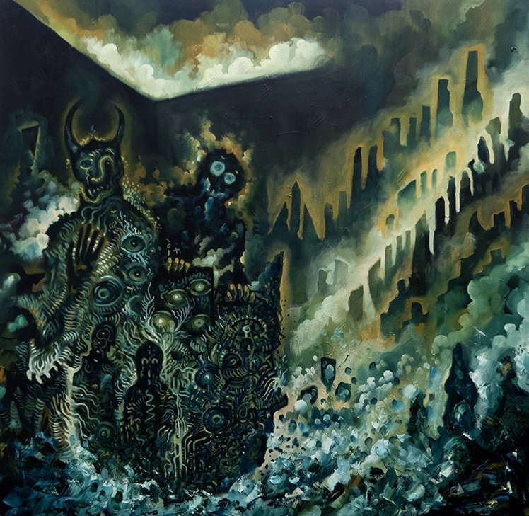 CHAOS 4 Oil on canvas 100 x 100 cm #oil #illustration #painting #oilpainting #art #darkart #esoteric #esoteriart #occultart #chaos #city #lovecraft #cthulhu #fire #clouds #sea #ocean #demon #satan #mountains #wall #clouds #bordeaux #mouvements #creatures #horror