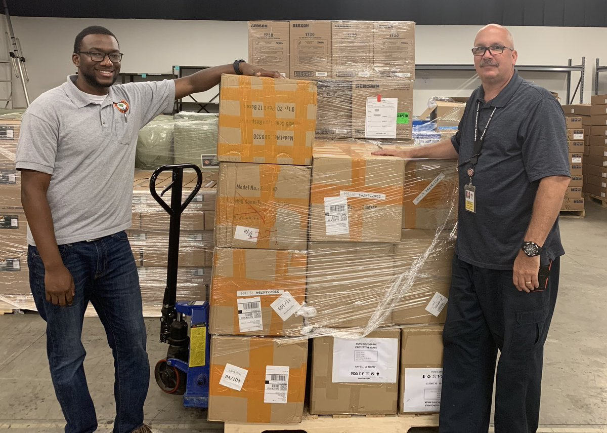 """Jeff Barrett and Daquan """"DQ"""" Crandell have played integral role in the distribution of PPE to local businesses, hospitals and healthcare facilities and first responders during the COVID-19 pandemic. We are proud to have them on our team!"""