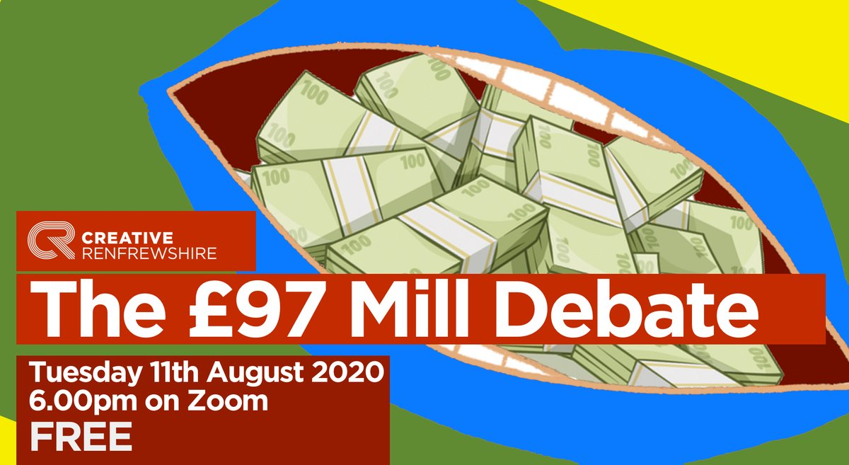 IMPORTant Pls RT. The Scottish Gov have £97 mill to support the arts, culture, & heritage industries to deal with the impact of coronavirus. So how should they distribute it? Join the ZOOM debate 11th Aug 6:00pm: register here, free limited spaces.