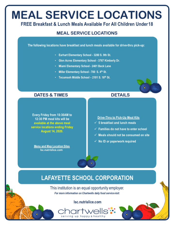 Hey LSC families - @ChartwellsLSC  will be continuing their *FREE* meal pack distributions on Friday, August 7th and 14th.  Check the revised flyer below because several locations have been dropped.  10:30-12:30 for the next 2 Fridays.