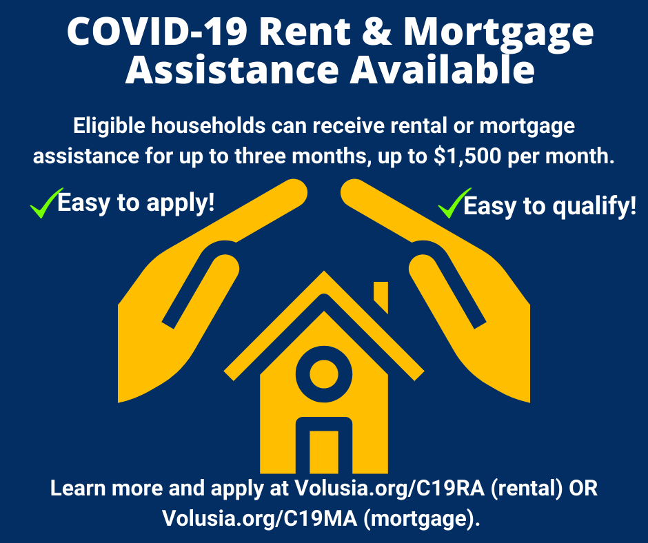 Volusia County Council allocates additional $2.5 million for COVID-19 rental and mortgage assistance! If you've been financially impacted by COVID-19, assistance is available! Call Volusia County Community Assistance at 386-736-5955 or visit .