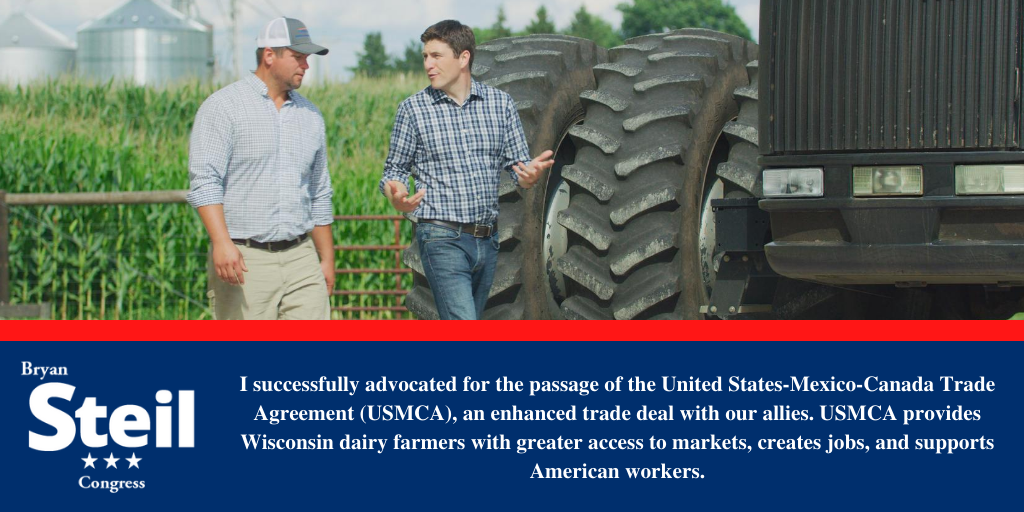 Farmers and workers are struggling and need our support. #USMCA opens up markets for Wisconsin, supports workers, and strengthens our economy. I've advocated for trade deals that put American workers and farmers first!