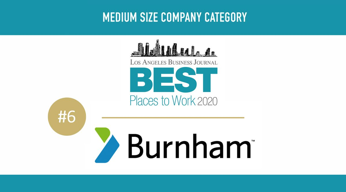 Congrats to our Burnham LA Team for making Burnham the @LABJnews  #6 Best Place To Work! Our team brings so much to the table – spirit, work ethic, professionalism, personalities, and care for each other and our clients.   #bestplacestowork #bestplacestowork2020 #labj #losangeles