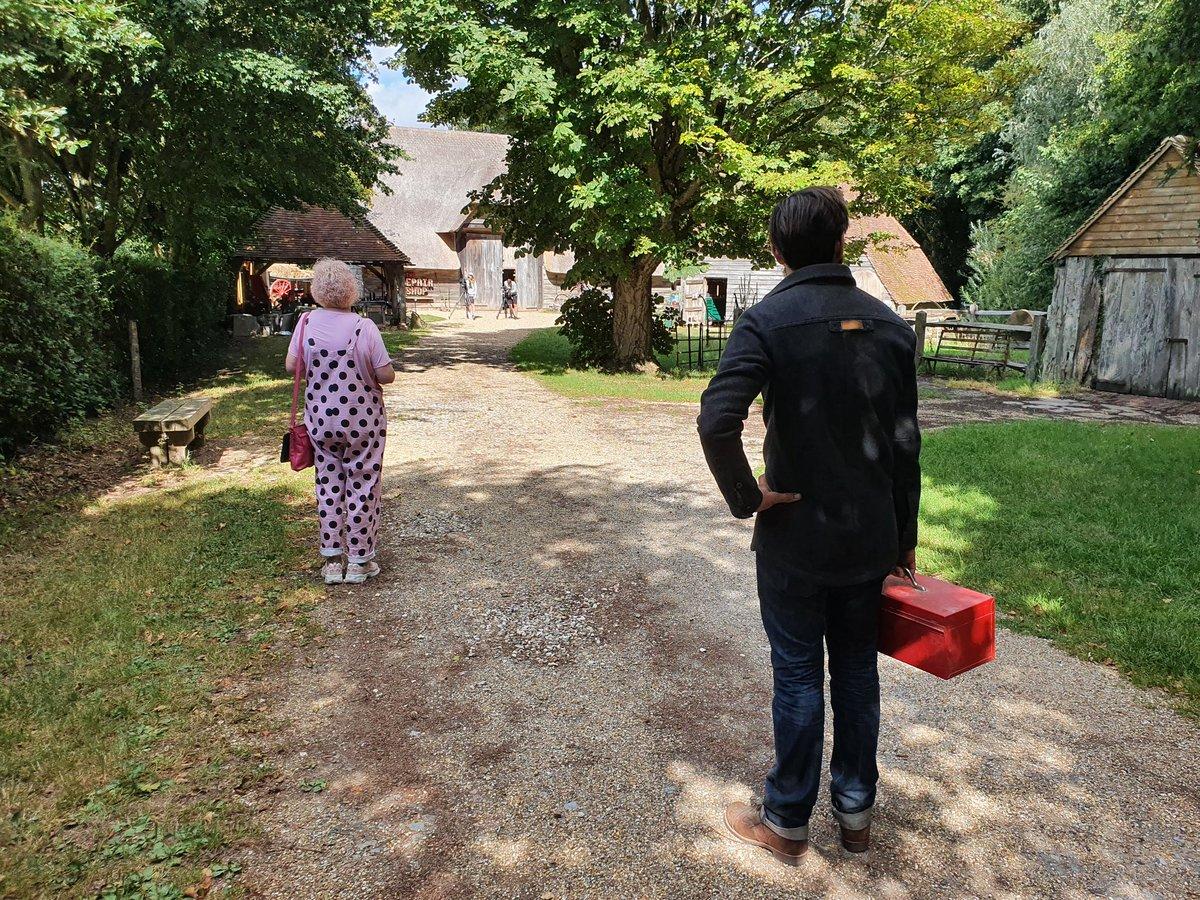 Arriving at #therepairshop barn, distancing. @BRENT0N_WEST @thebearitinmind
