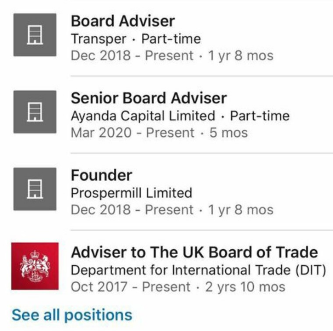 His LinkedIn also says he's an 'senior board adviser' to Ayanda (Ayanda's website doesn't mention him).  When we started tweeting about him he also described himself as founder of Prospermill [A1] but he doesn't anymore [A2].  We'll return to that. /3