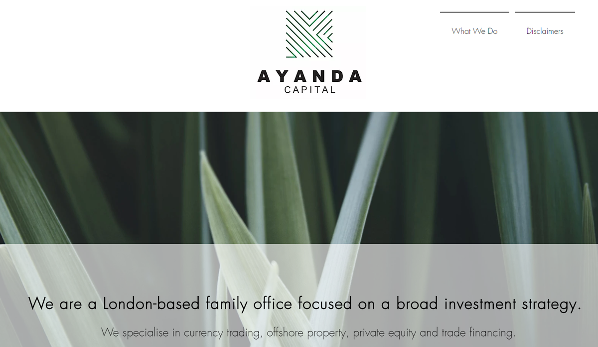 "Finally, on introductions, Ayanda Capital Limited.   It specialises in ""in currency trading, offshore property, private equity and trade financing"". And is owned through the – poor even by tax haven standards - tax haven of Mauritius. /6"