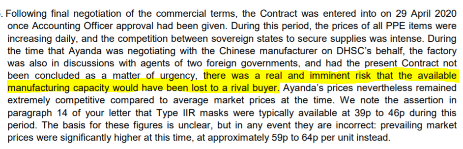 "The first is that Prospermill – the £100 company owned by the Mills – ""secured exclusive rights to the full production capacity of a large factory in China."" This seems – to put it mildly – implausible.  And as can be seen from later in the letter can't be taken at face value. /9"
