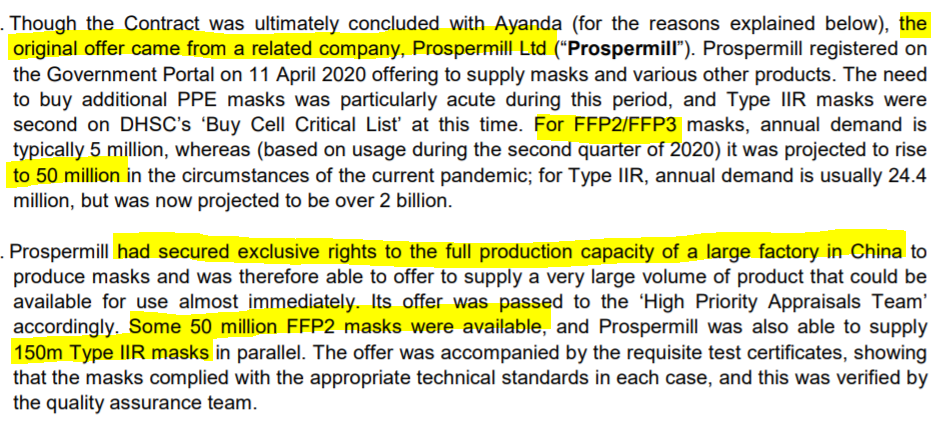 The third is that Govt bypassed normal procurement procedures that exist to guard against waste and cronyism to buy its entire predicted annual consumption – at elevated pandemic levels – of FFP2 facemasks from one adviser/supplier.   Why? And what could possibly go wrong? /12