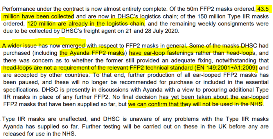 Does the Government's explanation for why it bought the FFP2 masks hold water? Well, here's what Government's letter says - and let's compare it to what Government elsewhere said the technical standard in force at the time required. /15
