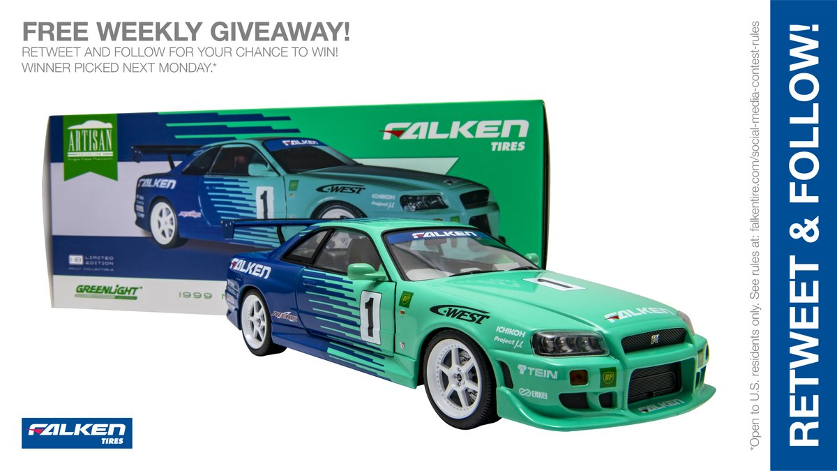 Falken 1:18 scale @GLCollectibles #NissanGTR weekly #giveaway #contest. RT & follow #FalkenTire to enter to #win this #prize or other #swag! Day6 Rules:  Day4