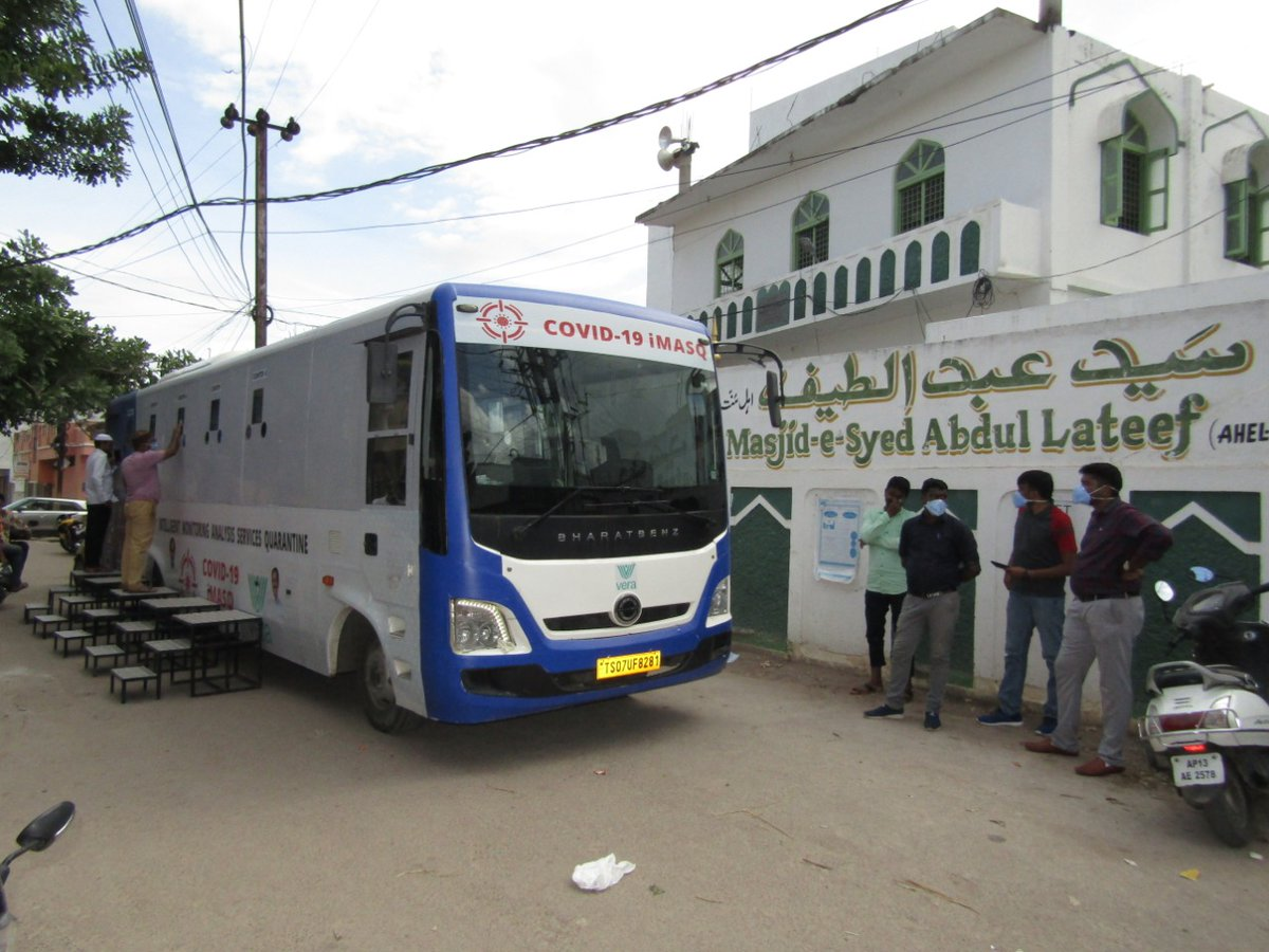 COVID-19 Mobile vehicle of Rapid Antigen RTCPR testing bus reached Company Bagh, Md Lines, Tolichowki under Karwan constituency  I appeal the resident's of area to go for test which is free