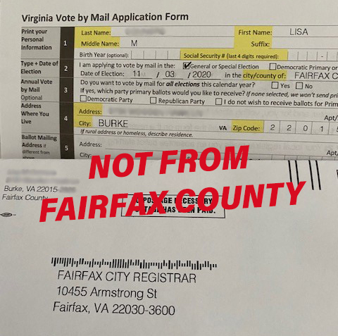 Be on the lookout for this inaccurate, potentially misleading mailing from the Center for Voter Information. Fairfax County DIDN'T send this mailing. Learn more: