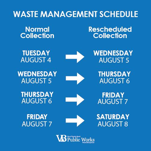 Reminder: We are operating on a sliding schedule for all waste collections. Expect trash, recycling and bulky items to be collected on this schedule and return to normal next week. FMI:  or call 385-4650. #IsaiasVB #WasteCollection #ReadyVB