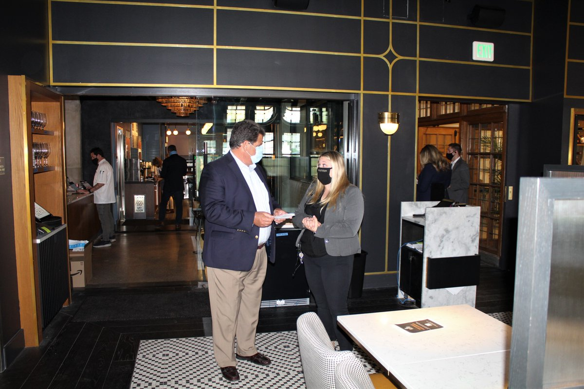 The @Purdue Memorial Union held the Grand Opening of the Union Club Hotel including the Boiler Up Bar and 8Eleven Restaurant. Mayor Tony Roswarski and other community guests toured the boutique hotel that has modern, world-class features for a black and gold themed hotel.