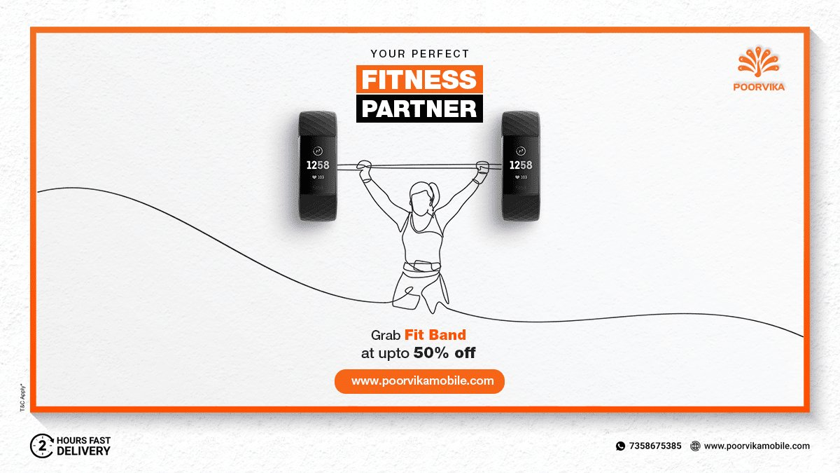Shop your #Fitness Partner at Poorvika with up to 50% OFF & Experience 2 Hours* #ExpressDelivery.  Shop now @   #Poorvika #FitnessTracker #BodyBuilding #Touchscreen #FitnessLifestyle #HeartRateMonitor #WaterResistant #Smartband #BPTracker #FitnessMotivation