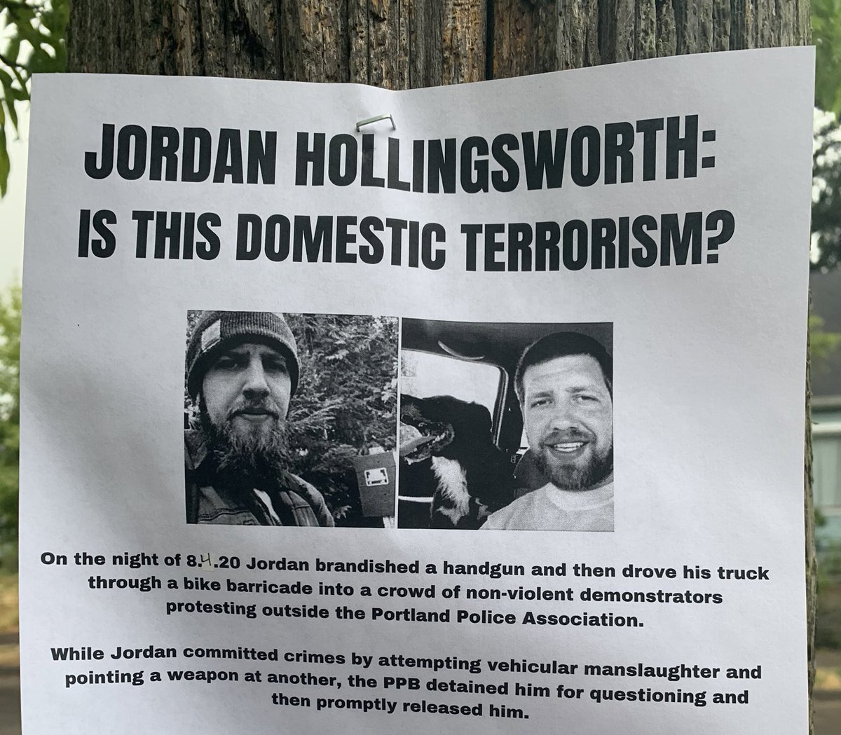 #Antifa have posted flyers around Portland with the name, photo, address, car license plate and phone number of the man they accuse of driving through their street barricade during an antifa riot in north Portland this week. His car was smashed & the tires were slashed by antifa.