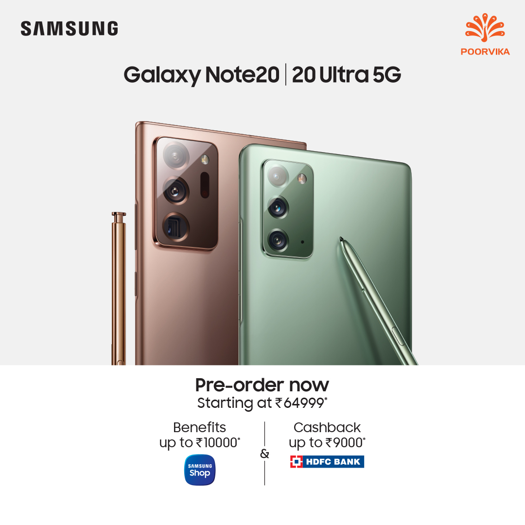Flagship Models At Increadable Offers. Pre Order the All New #Samsung #GalaxyNote20 & #GalaxyNote20Ultra at #PoorvikaMobiles.   PreOrder :   Key Features :  1. 120-Hz refresh rate. 2. Infinity-O display. 3. 4500 mAh battery. 4. S Pen. 5. Triple-rear camera.