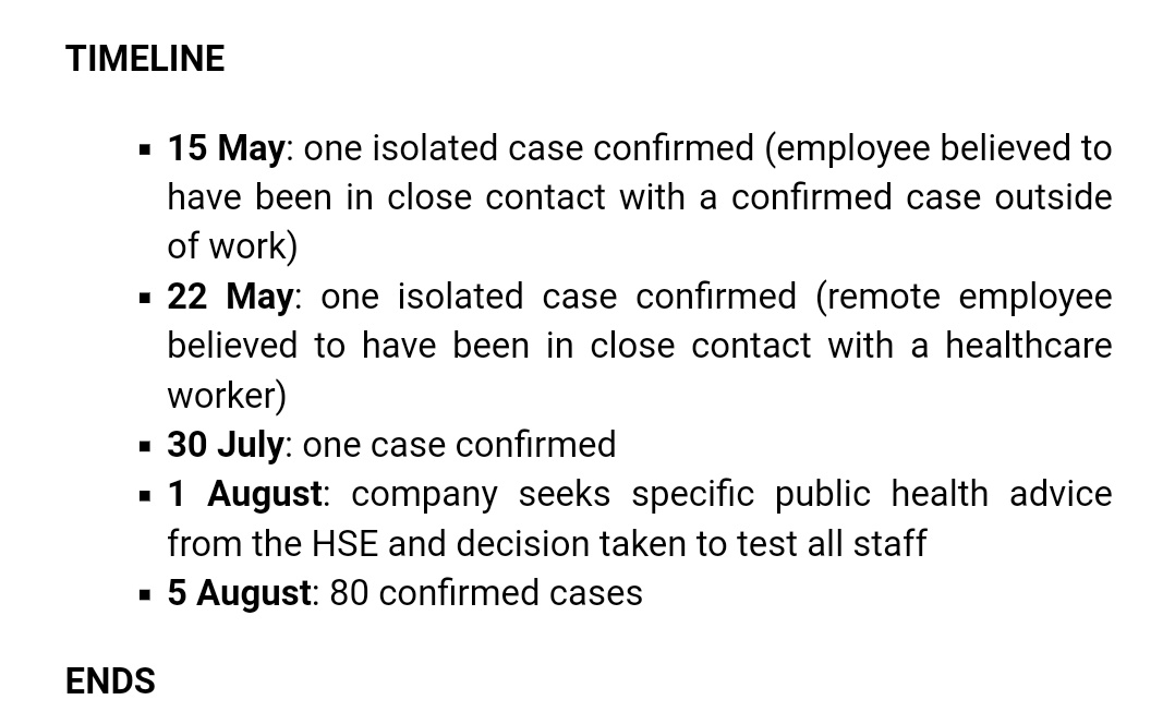 The timeline here is stark as can be.  30th July: One case confirmed. - 6 days later - 5th August: 80 cases confirmed.