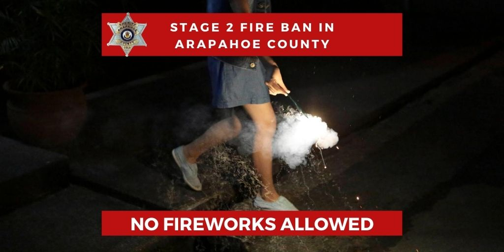 Arapahoe County is under a STAGE 2 FIRE BAN ban which means NO FIREWORKS! We have increased patrols in the Foxridge area of Centennial where residents are reporting fireworks every night. Fines and curfews are in effect and fire danger is HIGH. Please be mindful. @CentennialGov