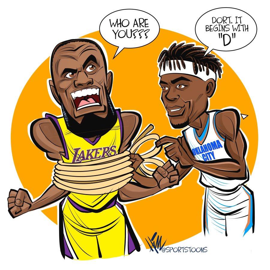 King James meets Lu Dort ... #ThunderUp #Thunder #OKCvsLAL #NBABubble #NBA #Lakers