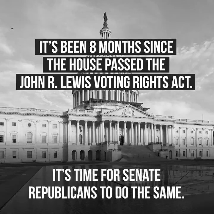 With voting rights across the country under Republican attack, it is critical that Leader McConnell end his blockade of the John R. Lewis Voting Rights Act of 2020 and finally pass this landmark legislation. #RestoreTheVote