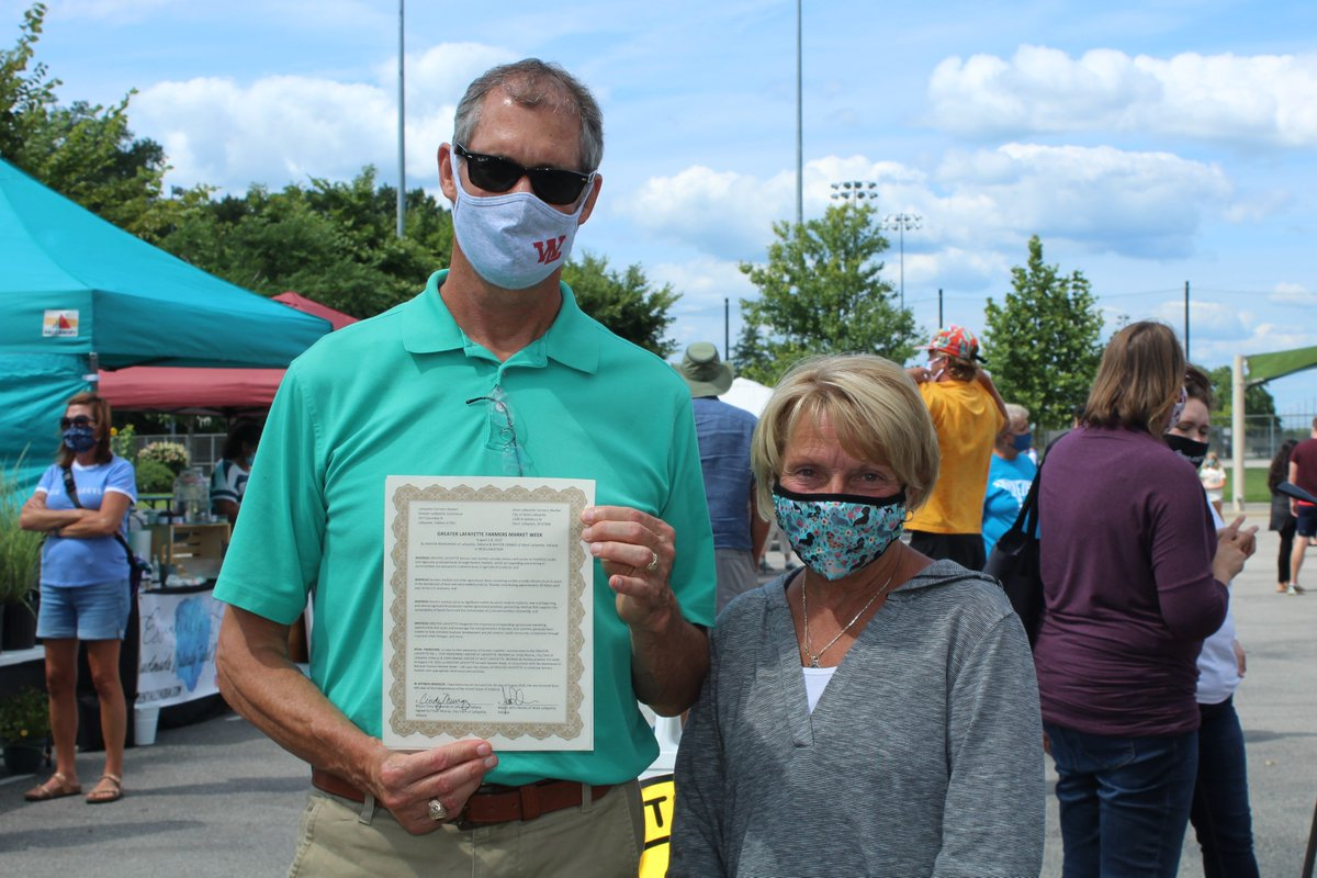 To celebrate National Farmers Market Week and to show our appreciation for Greater Lafayette's thriving markets, a proclamation was read by Lafayette City Clerk Cindy Murray and West Lafayette Mayor John Dennis. Visit your local Farmers Market soon!