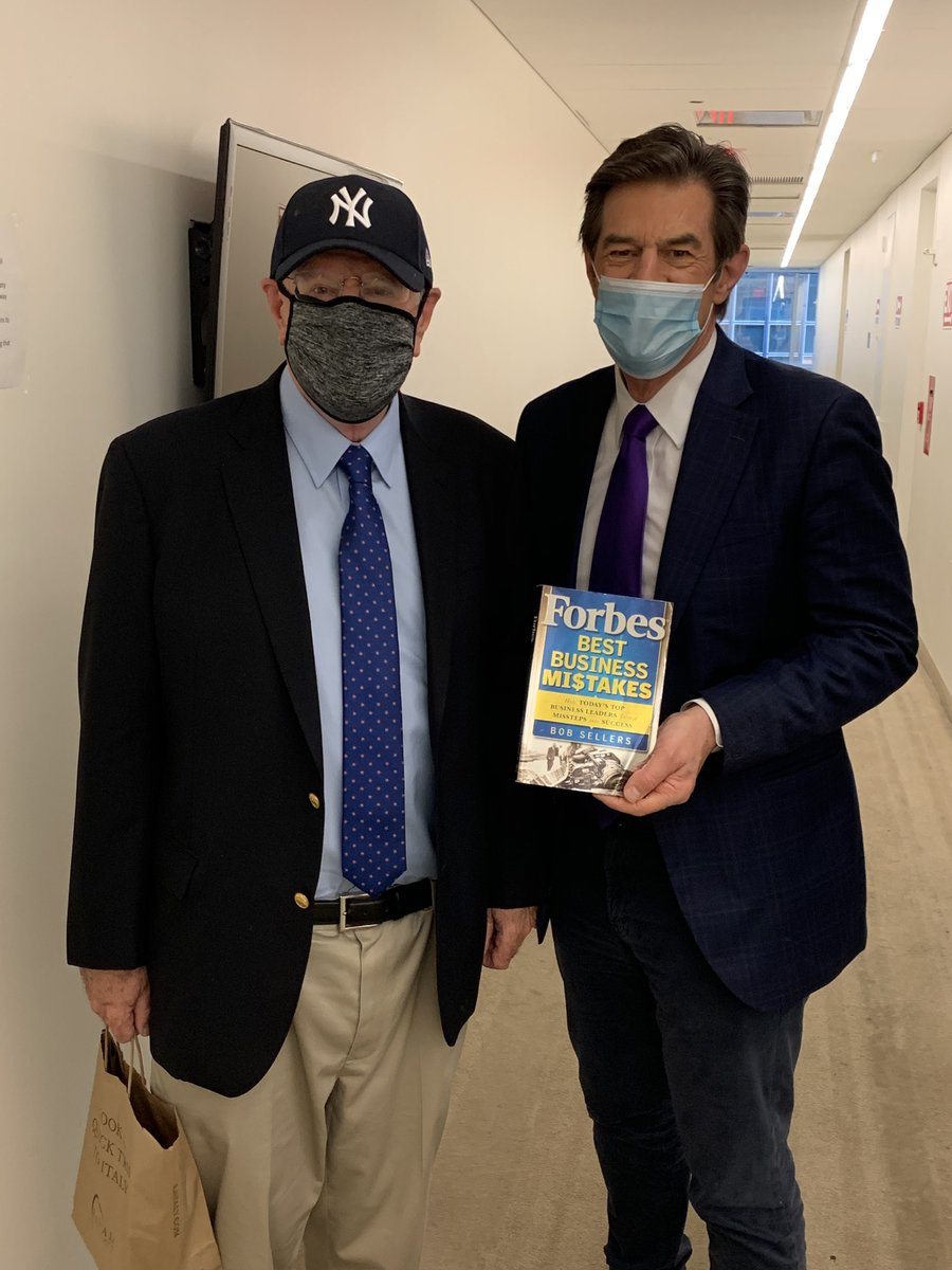 """Thanks to a power outage, he had to come in for an interview. Underneath that ball cap and mask is the legendary Steve Forbes, one of my favorite financial folks! I interviewed him for my book several years ago, and his company put """"Forbes"""" on the cover."""