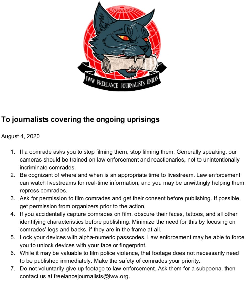 """There's a union for antifa """"journalists."""" It's part of the IWW, a radical anarchist & Marxist workers' union. Their rules of conduct throw out all journalism standards & ethics. It is an openly propagandist group against police & """"reactionaries"""" (a term used by communists)."""