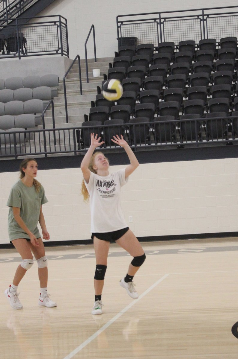 We caught a Lady Jackets volleyball practice this morning. Coach Pope's got them working!
