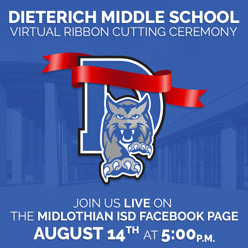 Join us LIVE Friday, August 14 for our Virtual Ribbon Cutting at Dieterich Middle school! We are excited to share this milestone event with you. It is thanks to our community for supporting our Bond 2016 and making this school possible. #MISDProud