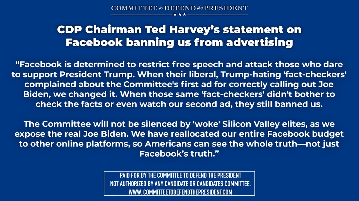 🚨 FOR IMMEDIATE RELEASE🚨  Statement From @Defend_Trump Chairman @tedharvey on Facebook banning us from advertising: