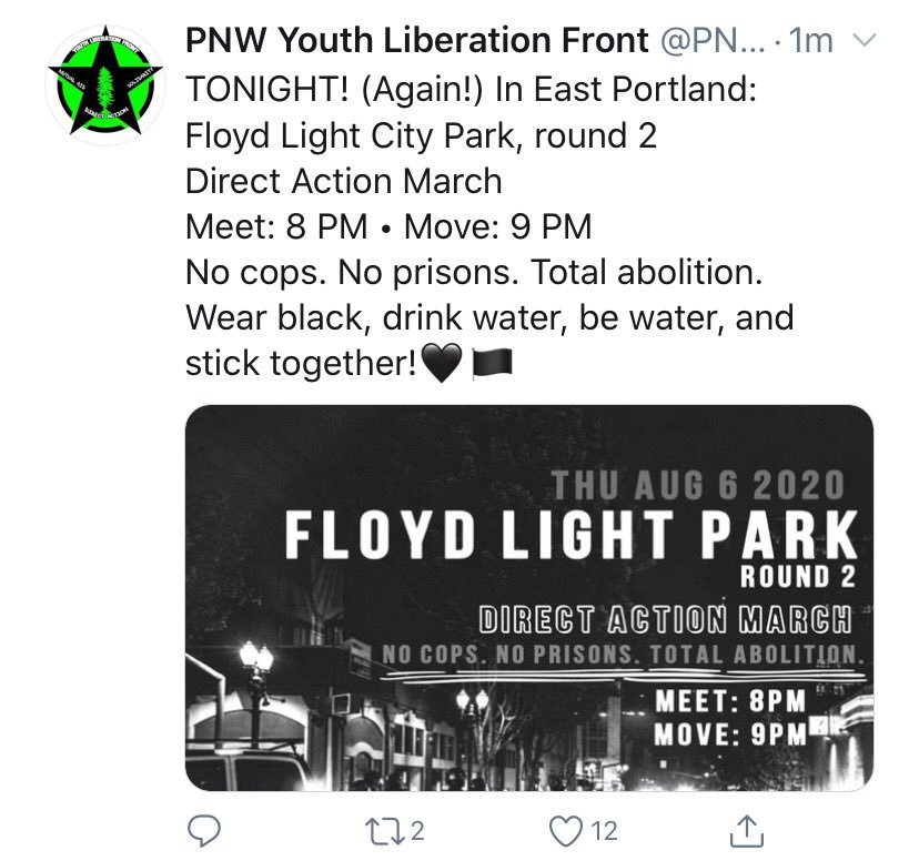 """This call for direct action for """"round 2"""" in East Precinct will not go unanswered. This announcement means there is intent to engage in violent acts like we saw last night where attempts were made to burn an occupied building and people in vehicles tried to run over officers."""