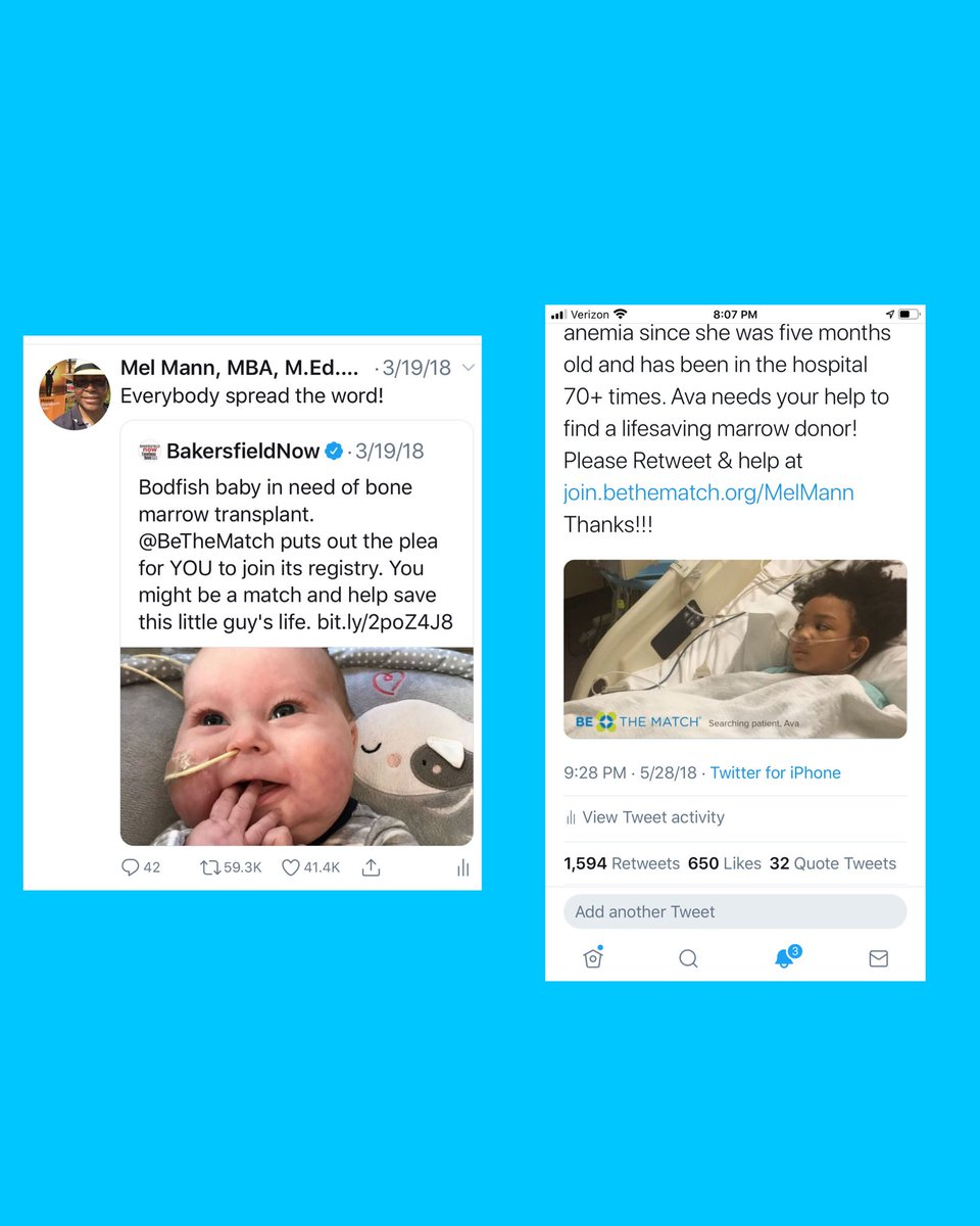 I tweeted these weeks apart. The baby on the left got 59,300 retweets & found a lifesaving donor. The little girl on the right, Ava, got 1,600 & still needs a donor. Let's give Ava her 59,000 Retweets.  Just takes a second. Thanks! Go to  to join. Pls Share