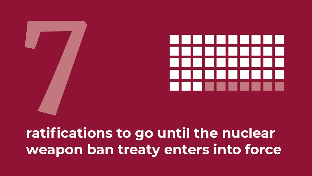 With ratifications this week by Ireland 🇮🇪, Nigeria 🇳🇬, and Niue 🇳🇺, just seven more are needed to bring the UN Treaty on the Prohibition of Nuclear Weapons into force. 🇺🇳📜 #nuclearban