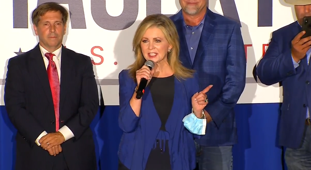 """""""What a great night for conservatives in Tennessee,"""" @MarshaBlackburn says at @BillHagerty's election party:"""