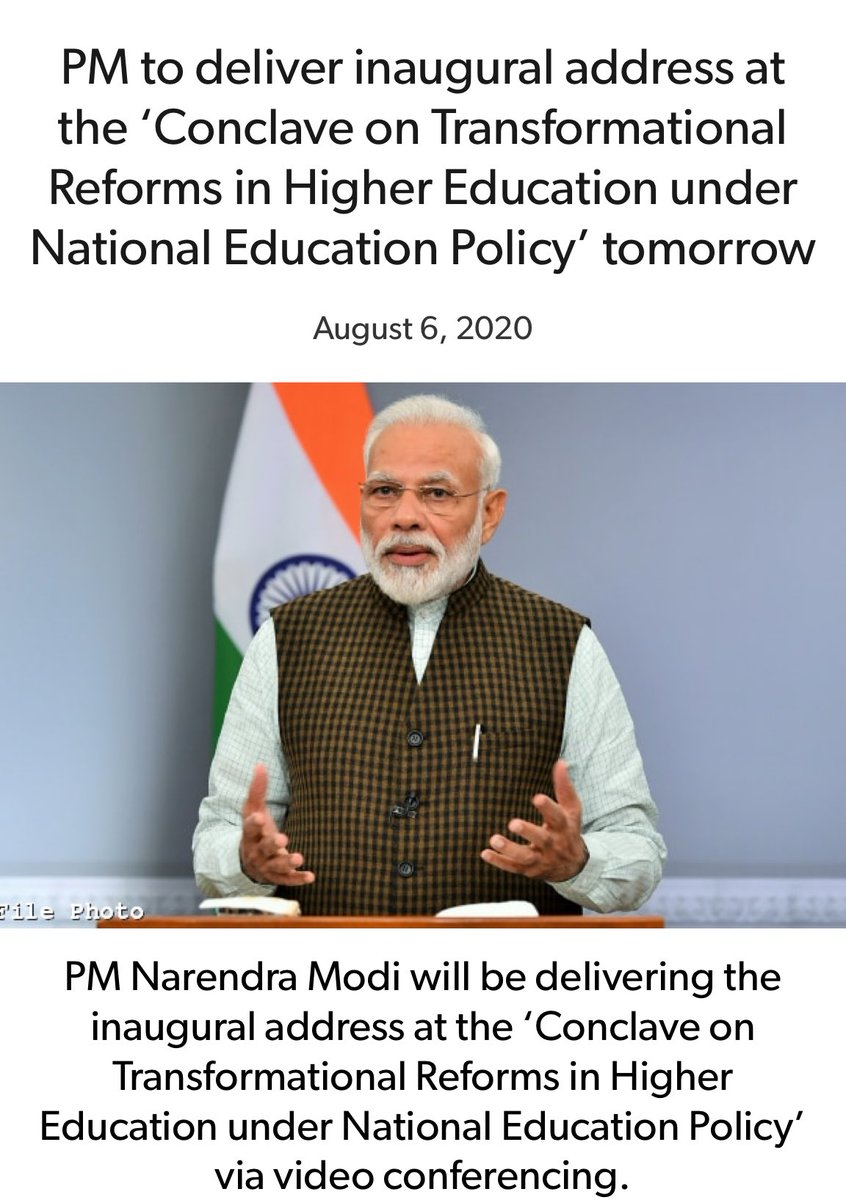 PM @narendramodi to deliver inaugural address at the 'Conclave on Transformational Reforms in Higher Education under National Education Policy' at 11 AM today, 7th August.     via NaMo App